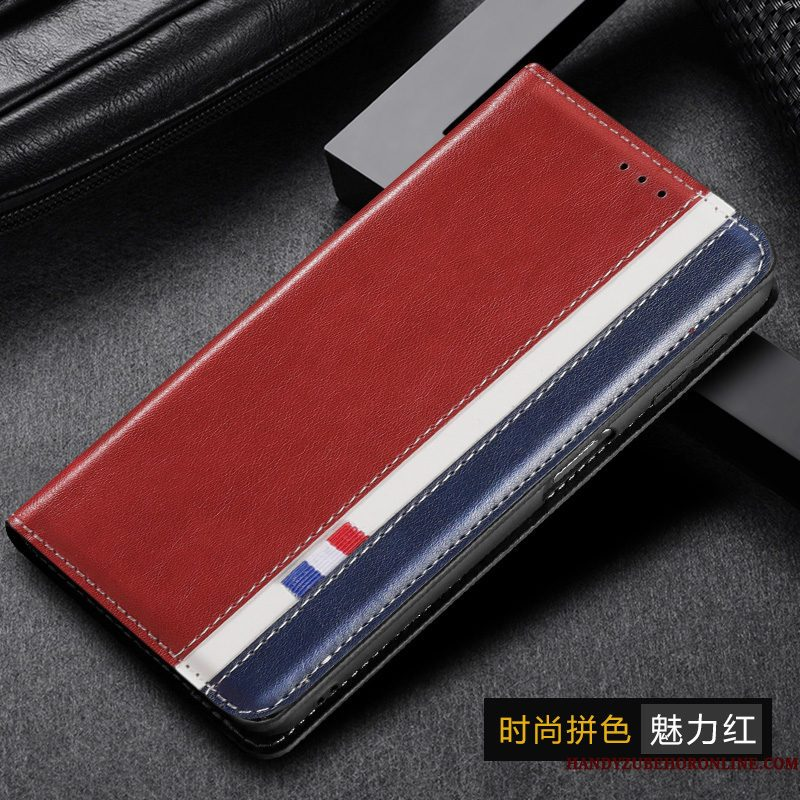 Hoesje Samsung Galaxy M30s Leer Rood Vouw, Hoes Samsung Galaxy M30s Folio Telefoon