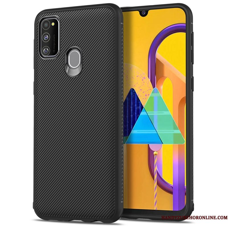 Hoesje Samsung Galaxy M30s Siliconen Zwart Trend, Hoes Samsung Galaxy M30s Zacht Skärmskydd Anti-fall