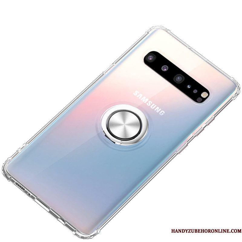 Hoesje Samsung Galaxy S10 5g Siliconen Trend Wit, Hoes Samsung Galaxy S10 5g Ondersteuning Ring Anti-fall