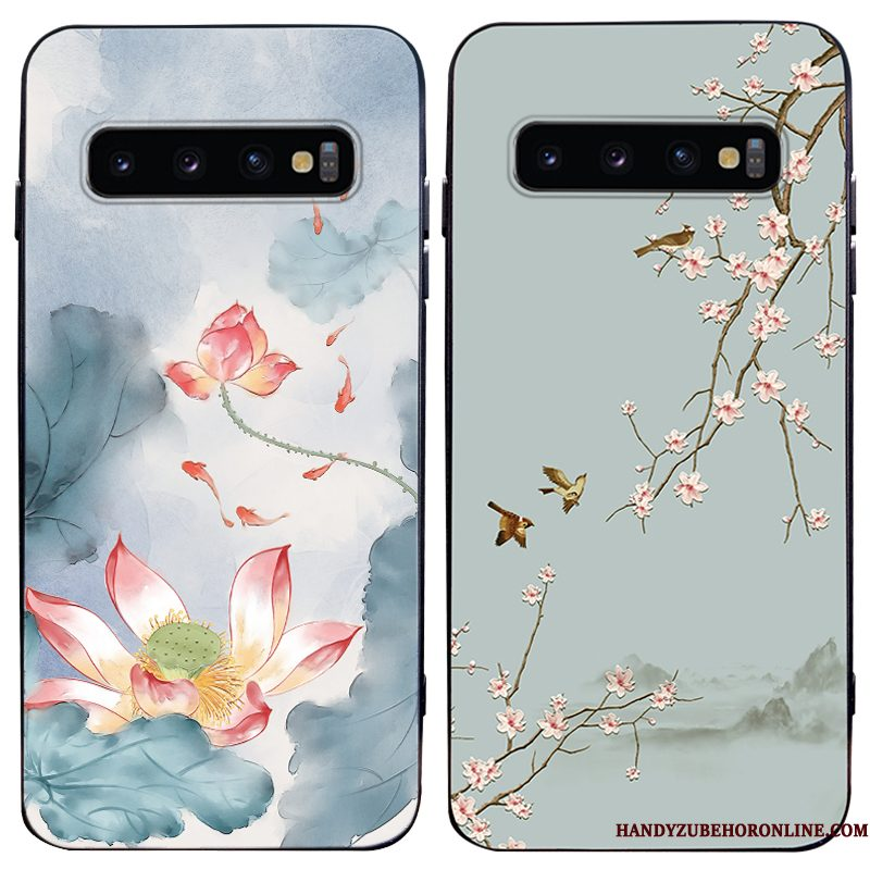 Hoesje Samsung Galaxy S10 Siliconen Trendy Merk Chinese Stijl, Hoes Samsung Galaxy S10 Zakken Persoonlijk Anti-fall