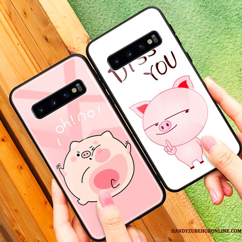 Hoesje Samsung Galaxy S10 Zacht Glas Roze, Hoes Samsung Galaxy S10 Siliconen Anti-fall Persoonlijk