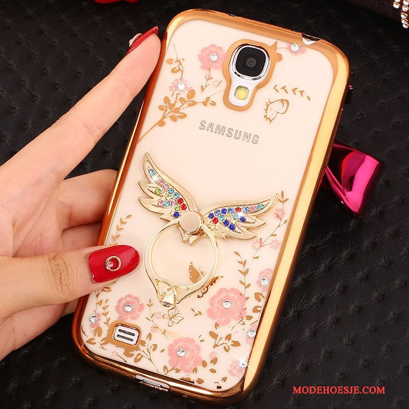 Hoesje Samsung Galaxy S4 Siliconen Telefoon Ring, Hoes Samsung Galaxy S4 Strass Goud