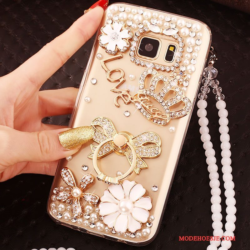 Hoesje Samsung Galaxy S6 Edge Strass Goud Trend, Hoes Samsung Galaxy S6 Edge Bescherming Telefoon