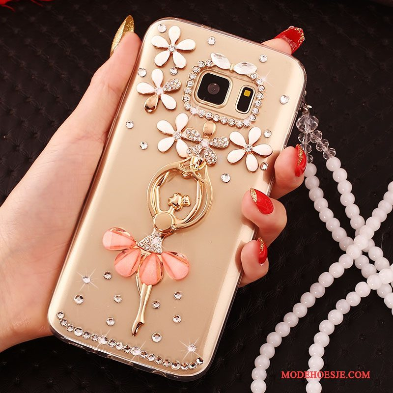 Hoesje Samsung Galaxy S7 Siliconen Hanger Ring, Hoes Samsung Galaxy S7 Zacht Telefoon Goud
