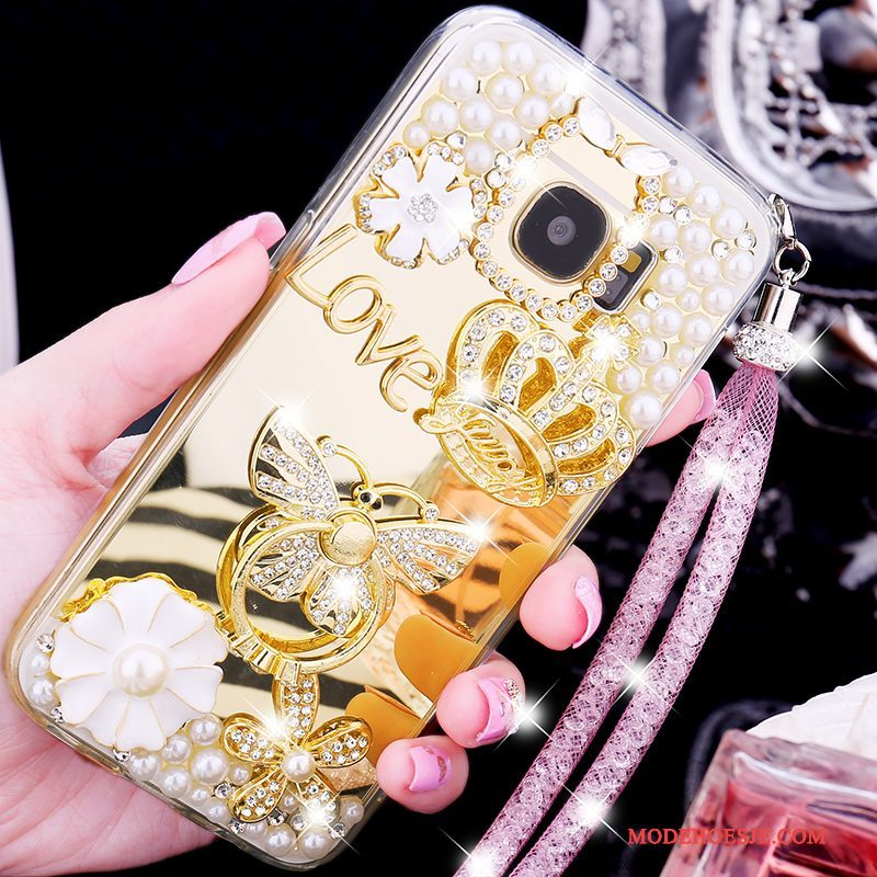 Hoesje Samsung Galaxy S7 Zacht Goud Trend, Hoes Samsung Galaxy S7 Siliconen Anti-fall Ring