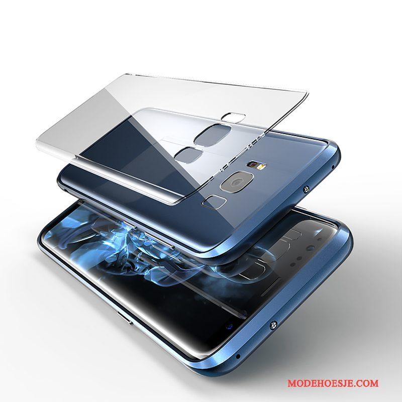 Hoesje Samsung Galaxy S8 Metaal Telefoon Blauw, Hoes Samsung Galaxy S8 Scheppend Anti-fall Omlijsting