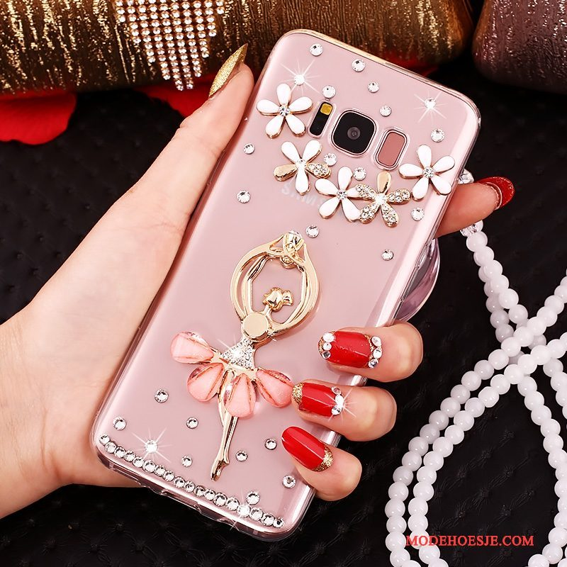 Hoesje Samsung Galaxy S8+ Strass Telefoon Roze, Hoes Samsung Galaxy S8+ Siliconen Anti-fall