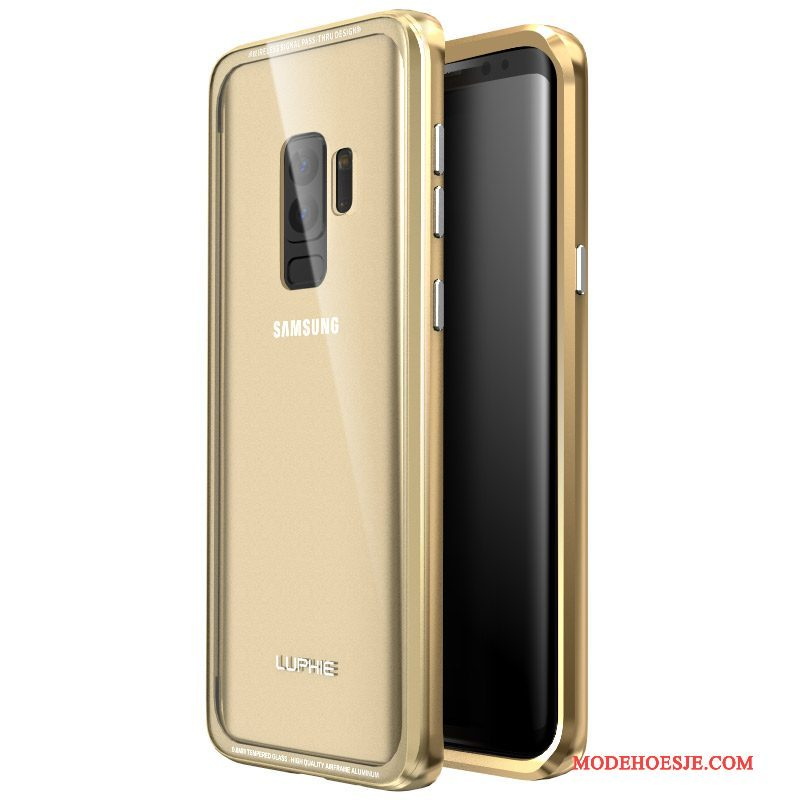 Hoesje Samsung Galaxy S9+ Scheppend Anti-fall Goud, Hoes Samsung Galaxy S9+ Metaal Telefoon Achterklep
