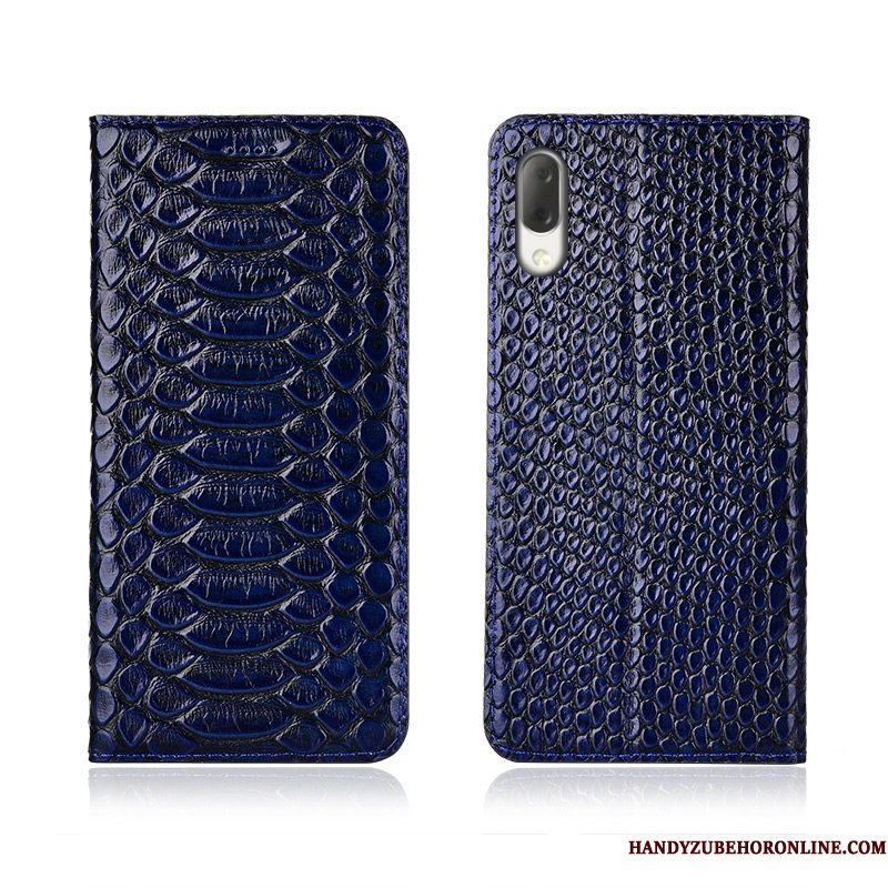 Hoesje Sony Xperia L3 Leer Anti-falltelefoon, Hoes Sony Xperia L3 Siliconen Schrobben Donkerblauw