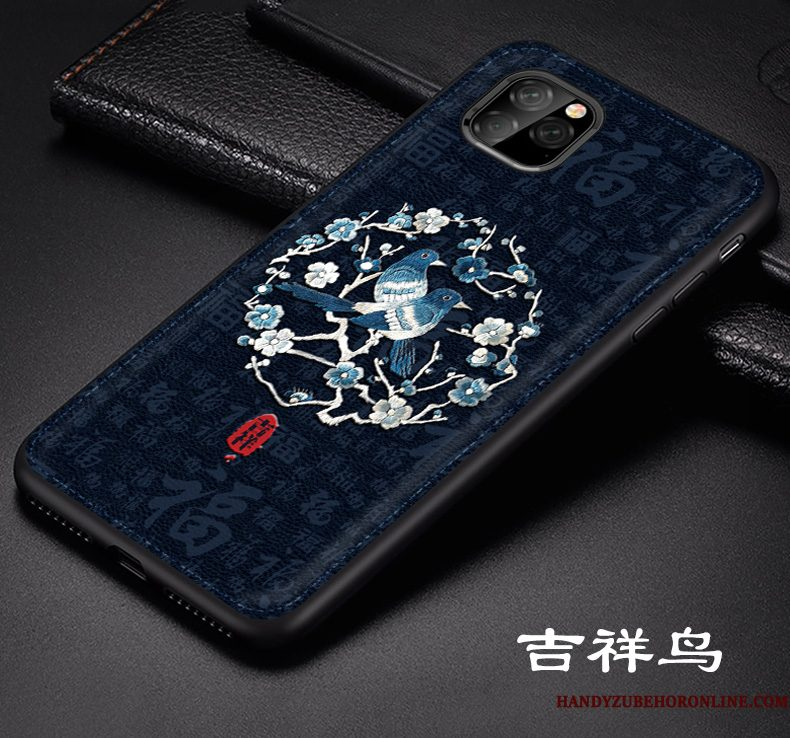 Hoesje iPhone 11 Pro Max Leer Anti-fall Schrobben, Hoes iPhone 11 Pro Max Siliconen Dragon Patroon Blauw