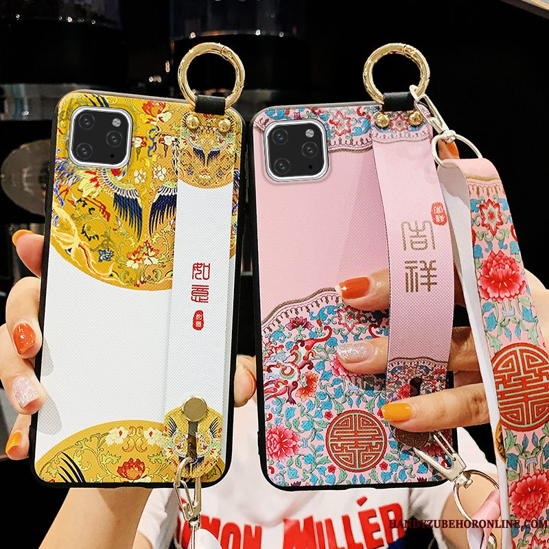 Hoesje iPhone 11 Pro Max Siliconen Chinese Stijl Hanger, Hoes iPhone 11 Pro Max Opknoping Nektelefoon