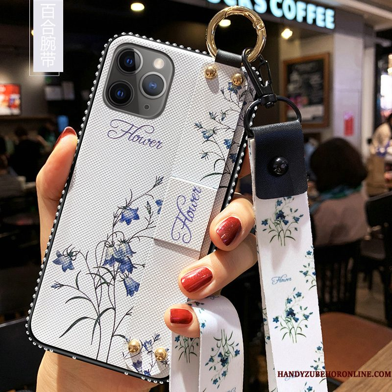 Hoesje iPhone 11 Pro Max Siliconen Kunst Trend, Hoes iPhone 11 Pro Max Zacht Wit Hanger