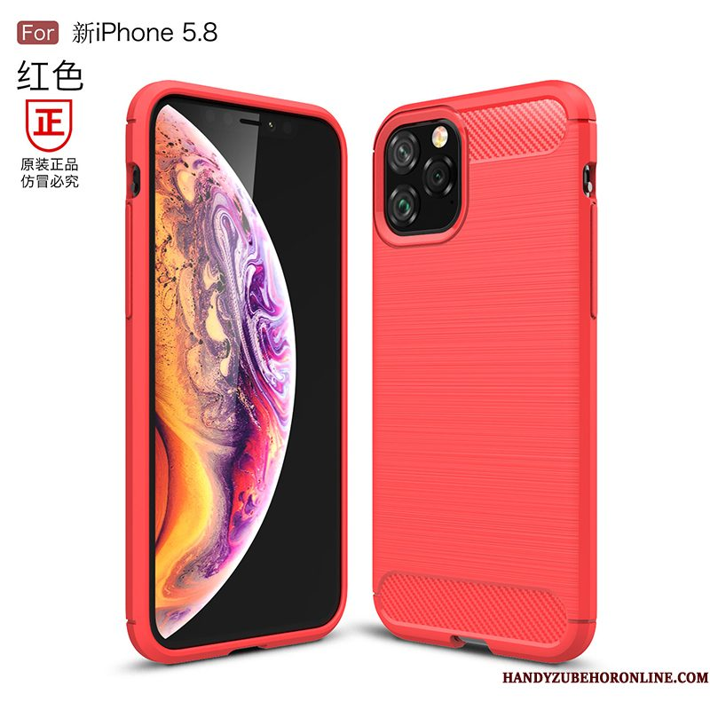 Hoesje iPhone 11 Pro Siliconen Nieuwtelefoon, Hoes iPhone 11 Pro Zacht Anti-fall Rood
