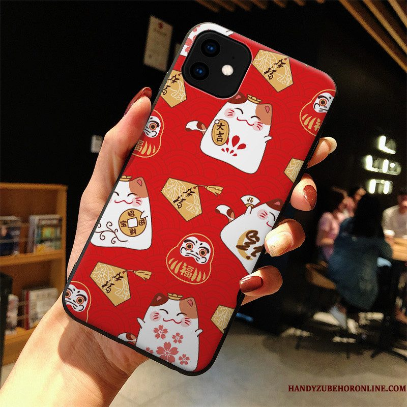 Hoesje iPhone 11 Spotprent Telefoon Rood, Hoes iPhone 11 Mode Anti-fall Lovers
