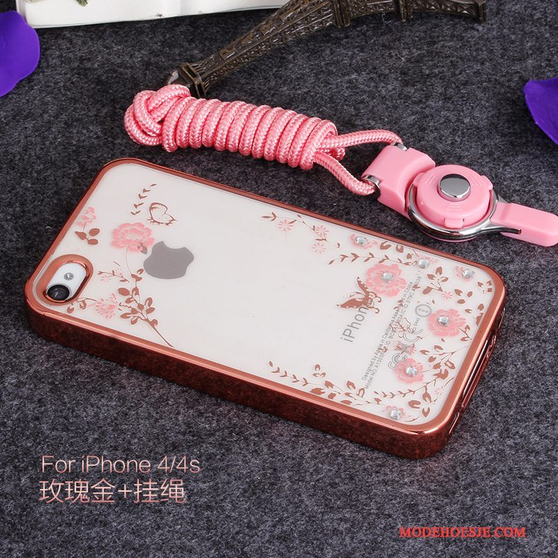 Hoesje iPhone 4/4s Strass Rozetelefoon, Hoes iPhone 4/4s Siliconen Anti-fall