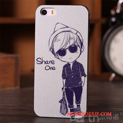 Hoesje iPhone 5/5s Scheppend Anti-fall Trend, Hoes iPhone 5/5s Siliconen Wit Hard