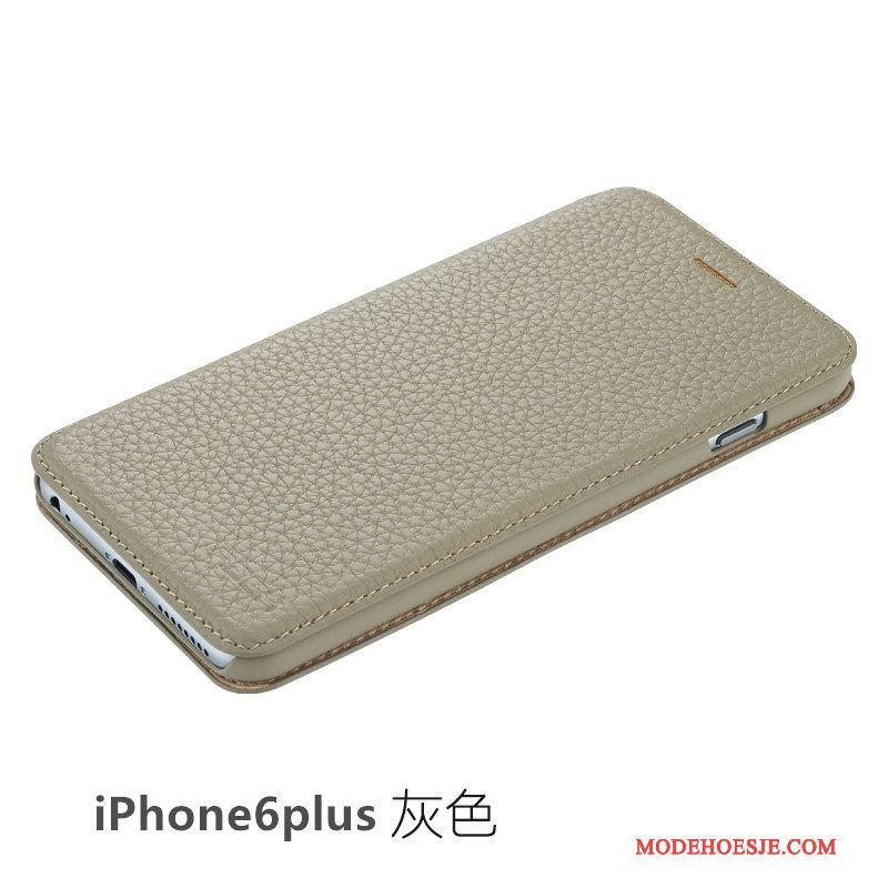 Hoesje iPhone 6/6s Plus Folio Dun Grijs, Hoes iPhone 6/6s Plus Leer Telefoon