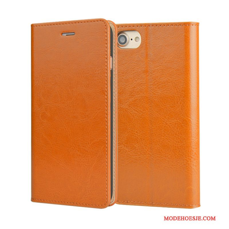 Hoesje iPhone 6/6s Plus Leer Anti-fall Kwaliteit, Hoes iPhone 6/6s Plus Folio Oranjetelefoon