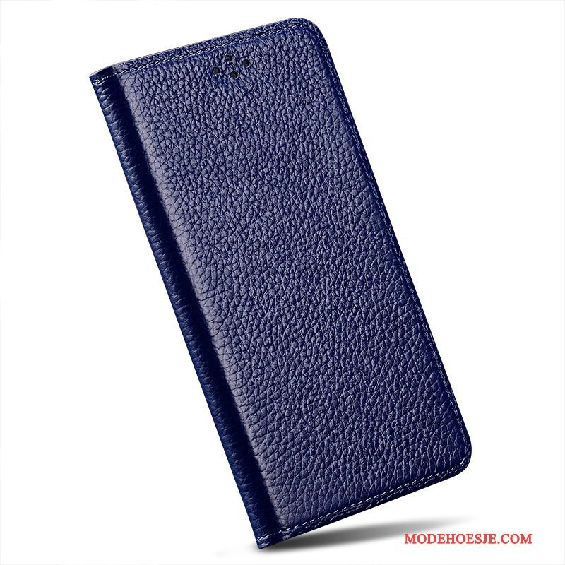 Hoesje iPhone 6/6s Plus Leer Blauwtelefoon, Hoes iPhone 6/6s Plus Folio Anti-fall