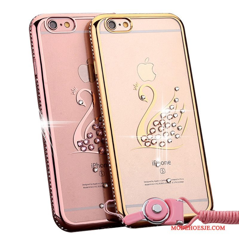 Hoesje iPhone 6/6s Plus Strass Rozetelefoon, Hoes iPhone 6/6s Plus Hanger Trend