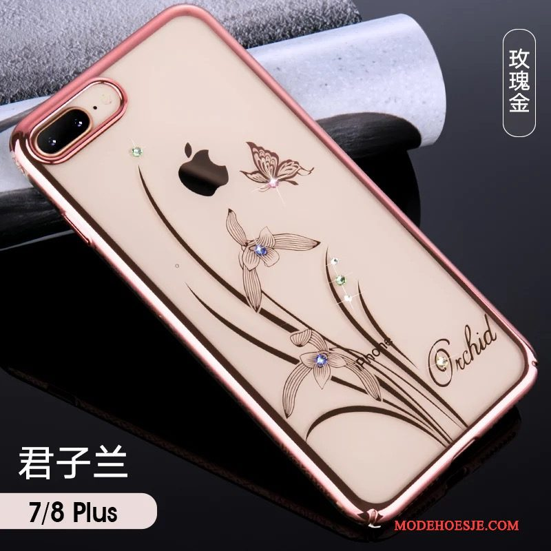 Hoesje iPhone 7 Plus Luxe Hanger Elegante, Hoes iPhone 7 Plus Zakken Roze Anti-fall