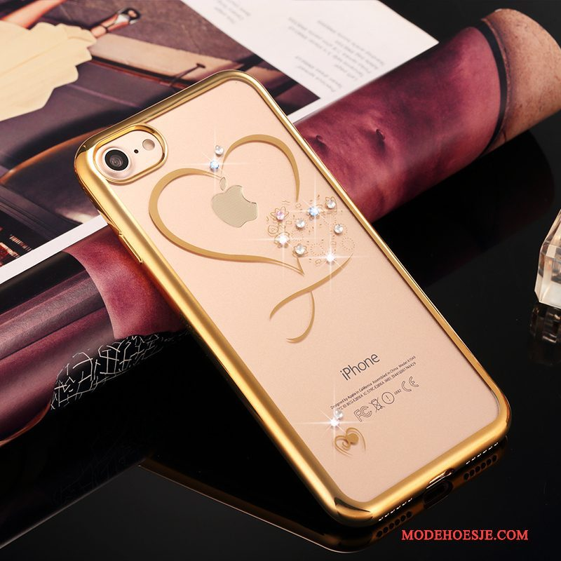 Hoesje iPhone 7 Plus Strass Goud Doorzichtig, Hoes iPhone 7 Plus Luxe Anti-falltelefoon