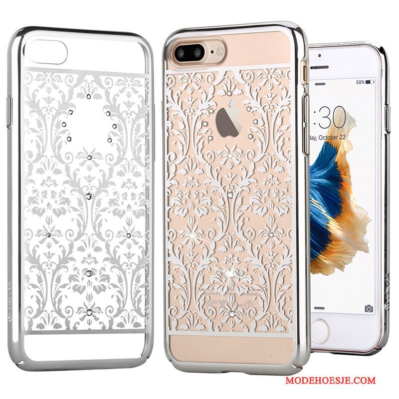 Hoesje iPhone 7 Plus Strass Plating Goud, Hoes iPhone 7 Plus Zakken Telefoon Roze