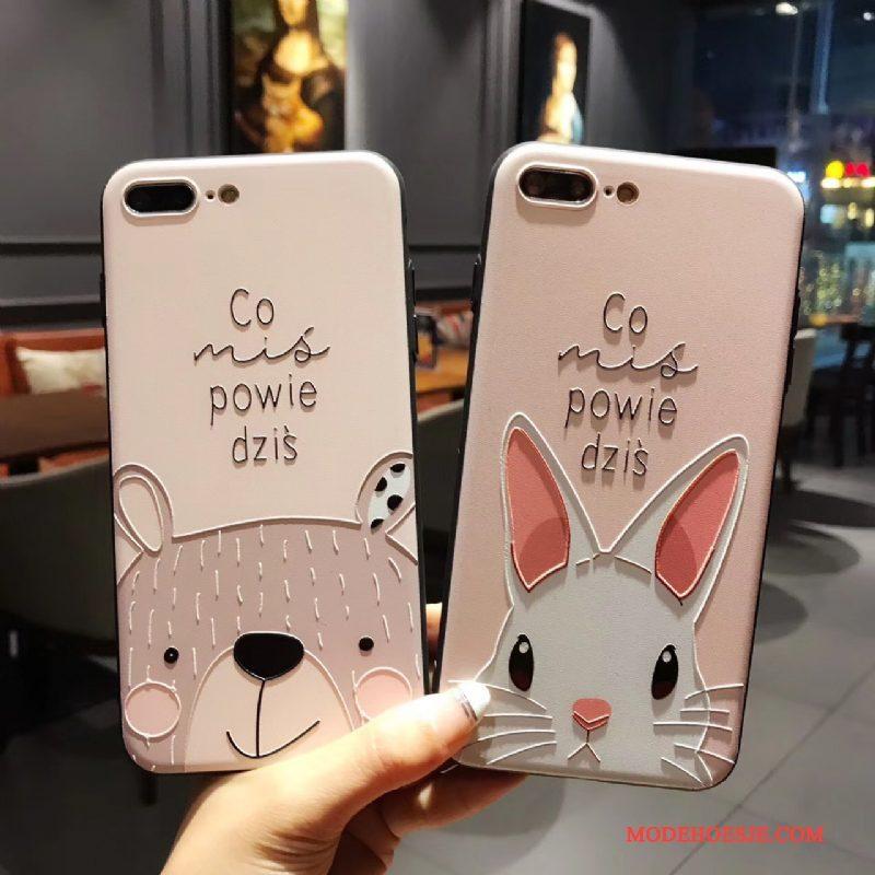 Hoesje iPhone 8 Plus Bescherming Konijn Persoonlijk, Hoes iPhone 8 Plus Zakken Roze Anti-fall