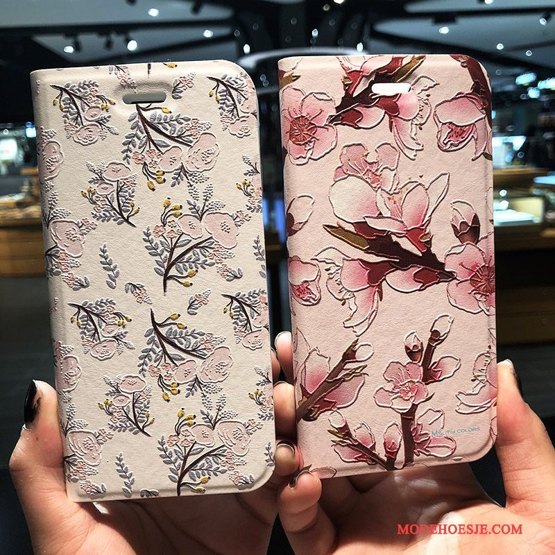 Hoesje iPhone 8 Plus Bloemen Rozetelefoon, Hoes iPhone 8 Plus Leer