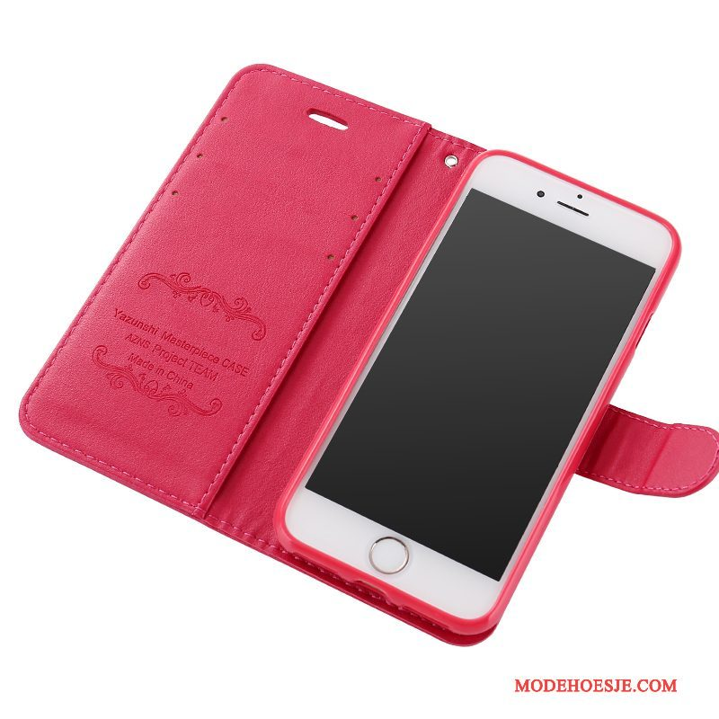 Hoesje iPhone 8 Plus Siliconen Anti-fall Rood, Hoes iPhone 8 Plus Leer Telefoon