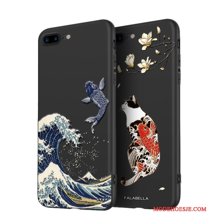 Hoesje iPhone 8 Plus Siliconen Chinese Stijl Nieuw, Hoes iPhone 8 Plus Zacht Anti-fall Zwart