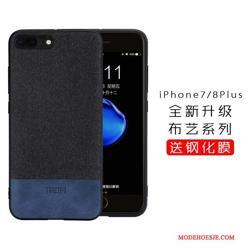 Hoesje iPhone 8 Plus Zakken Doek Blauw, Hoes iPhone 8 Plus Siliconen Telefoon Trendy Merk