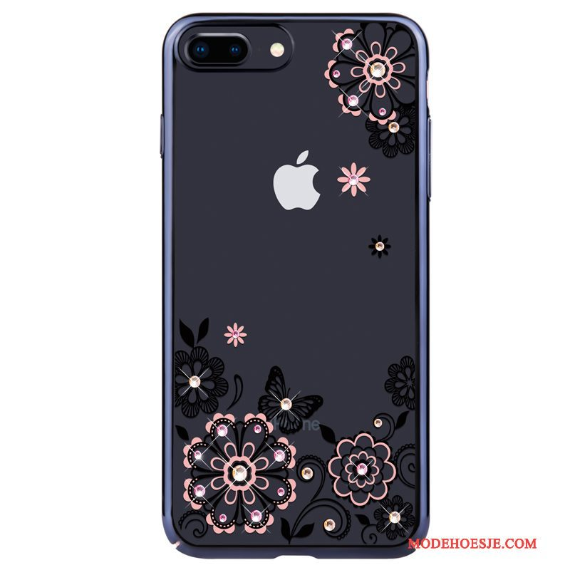 Hoesje iPhone 8 Strass Roze Anti-fall, Hoes iPhone 8 Luxe Trendtelefoon