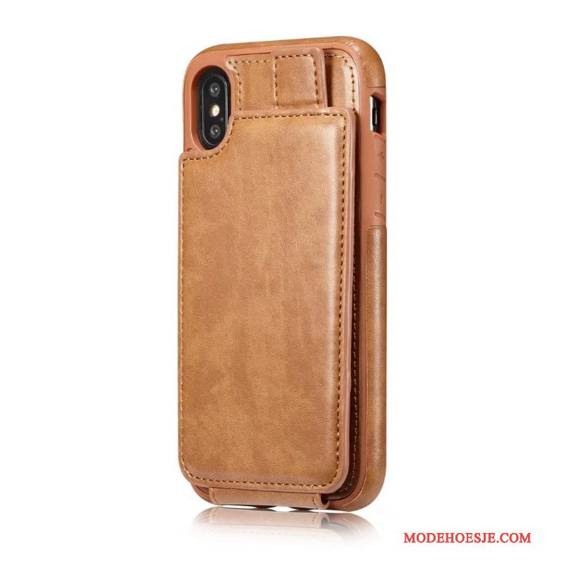 Hoesje iPhone X Leer Anti-fall Kaart, Hoes iPhone X Bescherming Originaltelefoon