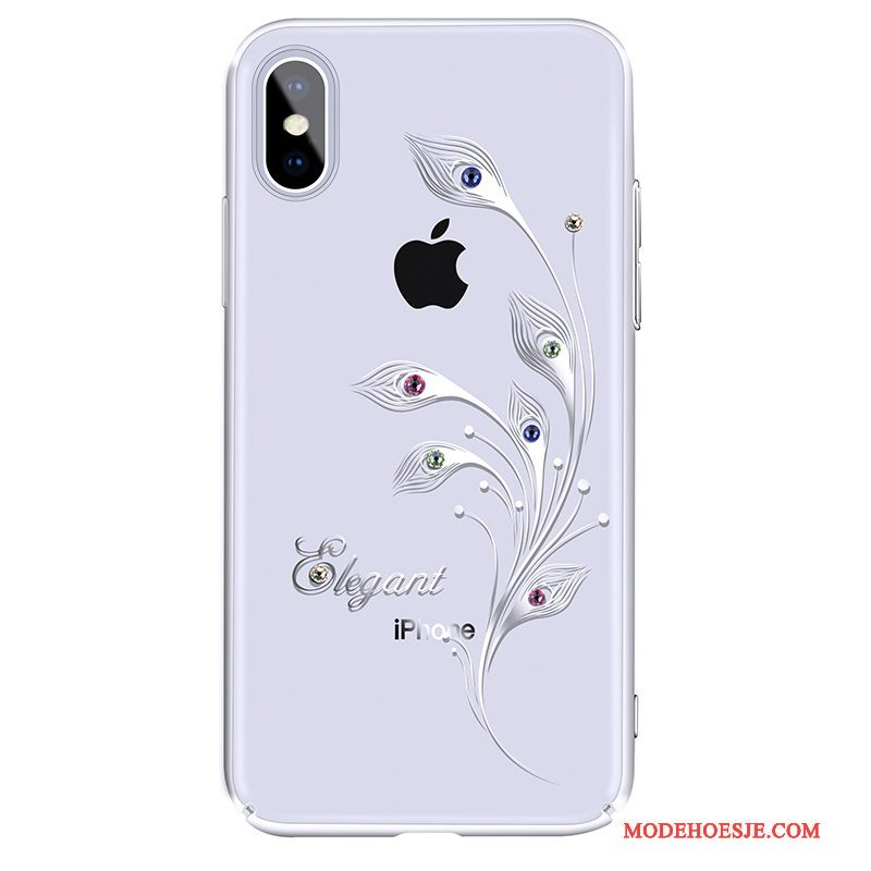 Hoesje iPhone X Strass Telefoon Wit, Hoes iPhone X Luxe Anti-fall Dun