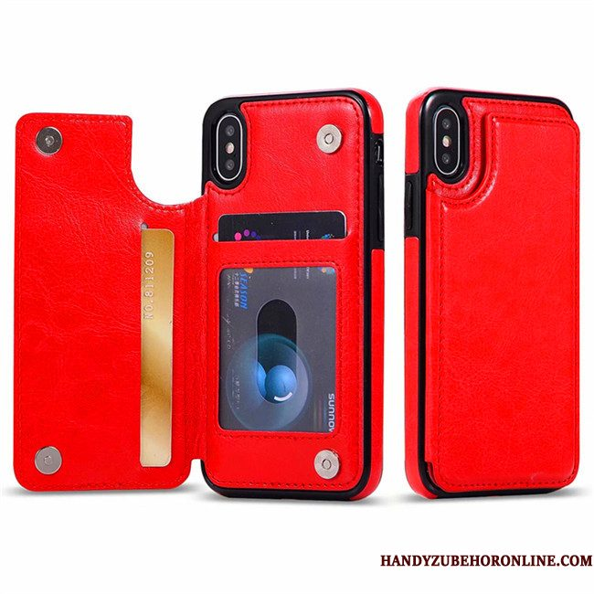 Hoesje iPhone Xs Max Bescherming Kaart Rood, Hoes iPhone Xs Max Leer Telefoon Anti-fall