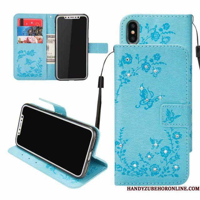 Hoesje iPhone Xs Max Folio Anti-fall Kaart, Hoes iPhone Xs Max Leer Reliëf Blauw
