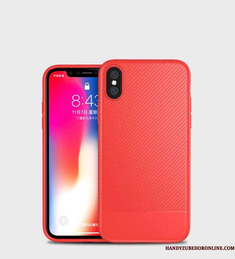 Hoesje iPhone Xs Max Zacht Anti-fall Rood, Hoes iPhone Xs Max Bescherming Telefoon Nieuw
