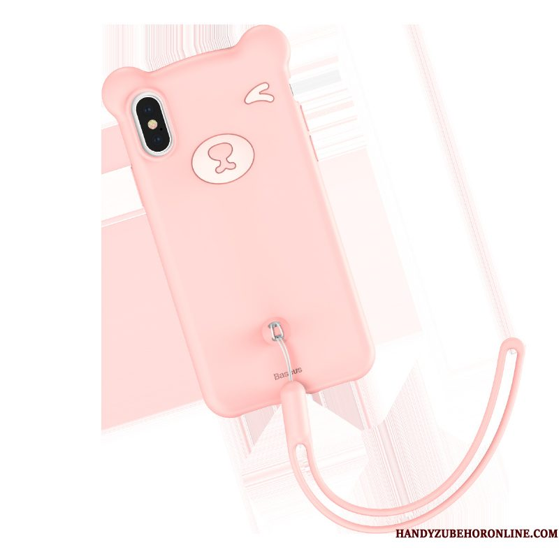 Hoesje iPhone Xs Siliconen Beren Roze, Hoes iPhone Xs Spotprent Mini Anti-fall