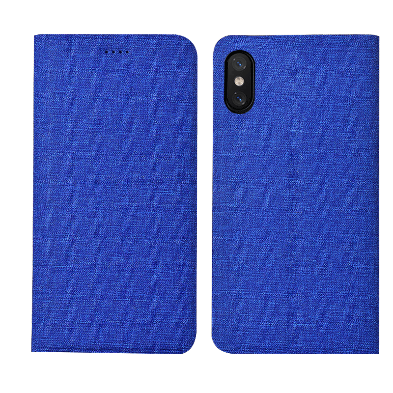 Hoesje iPhone Xs Siliconen Blauw Trend, Hoes iPhone Xs Leer Telefoon High End