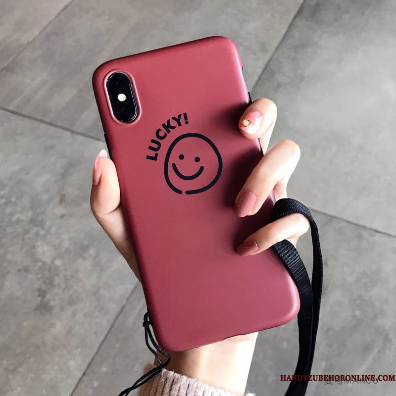Hoesje iPhone Xs Siliconen Smiley Rood, Hoes iPhone Xs Hangertelefoon